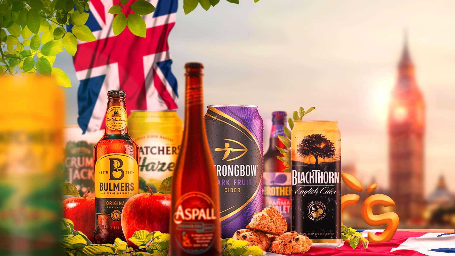 Een verzameling van Engelse Ciders